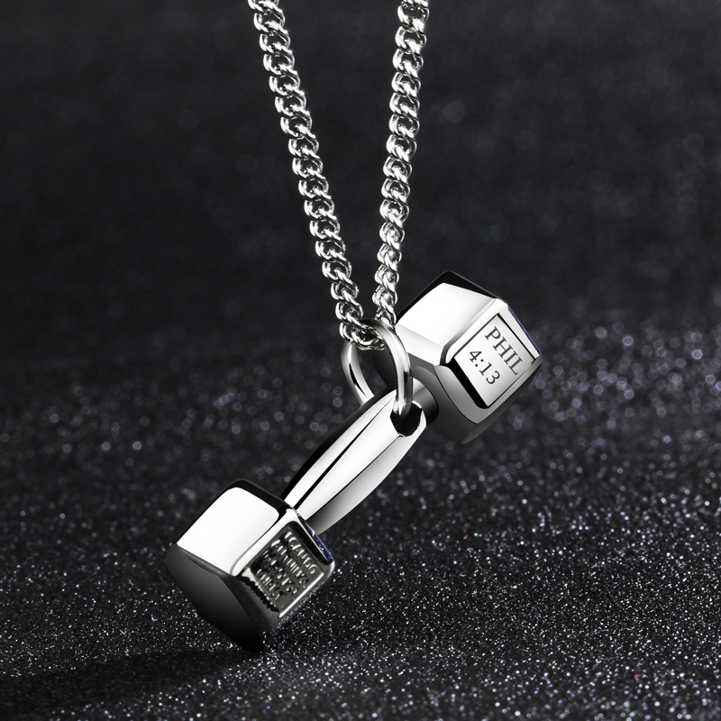 Wing force fitness dumbbell barbell creative pendant necklace men domineering titanium steel pendant couple korean version of the influx of men and women