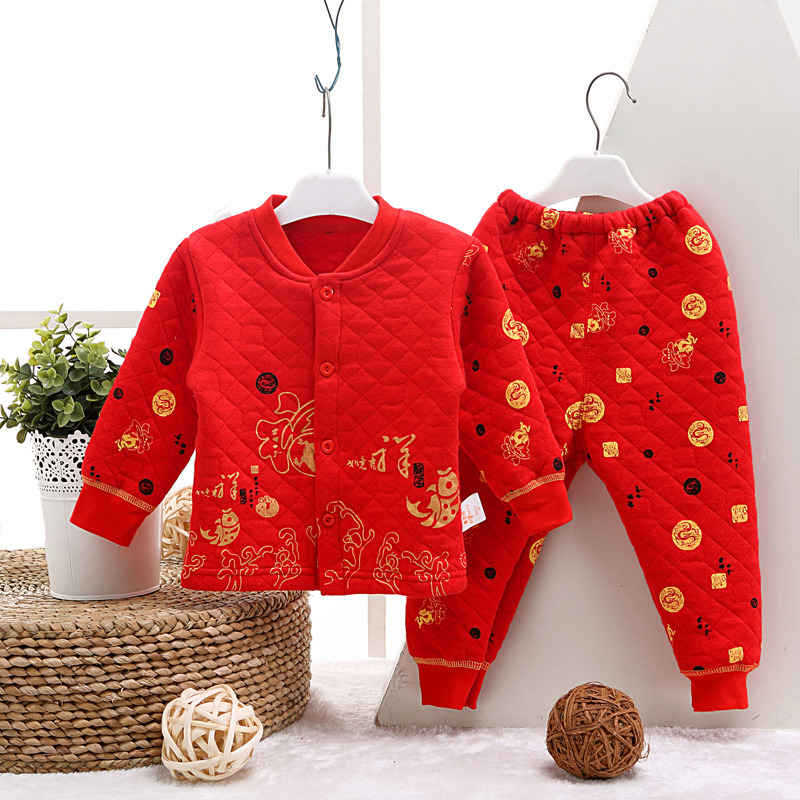 Winter baby red autumn and winter thermal underwear sets baby cotton thermal underwear sets children's red dress