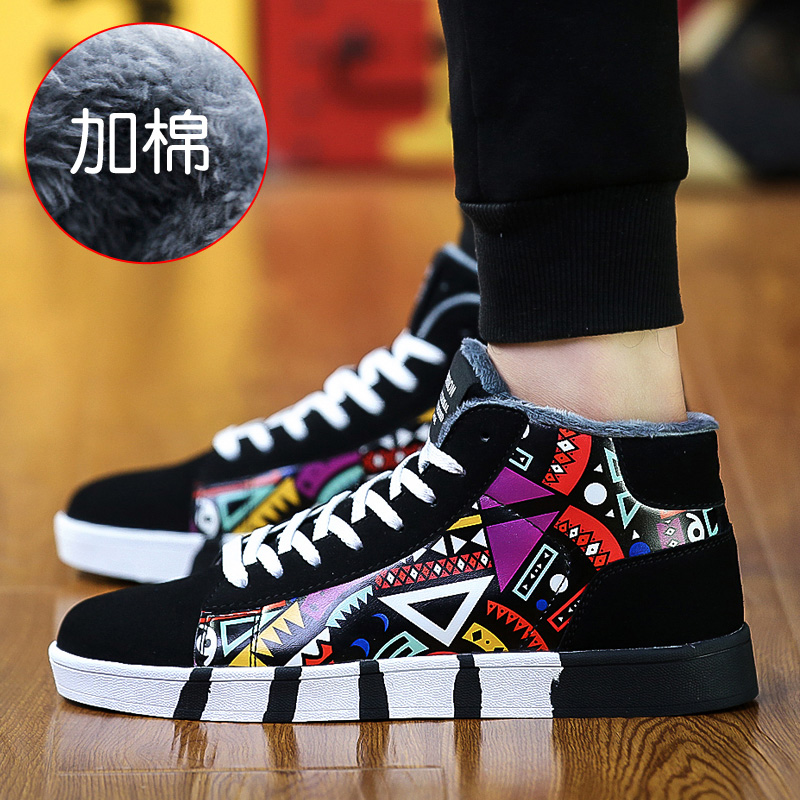Winter boys canvas shoes tide shoes casual shoes warm high shoes korean students plus velvet padded shoes men's shoes
