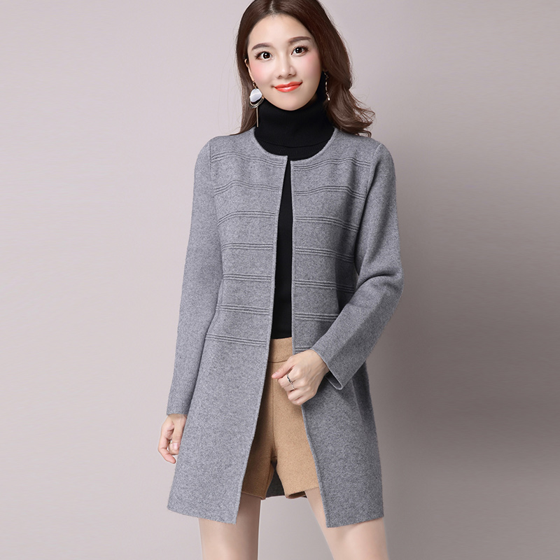 Winter coat female korean loose sweater cardigan sweater long section of female models in spring autumn and winter coat female students