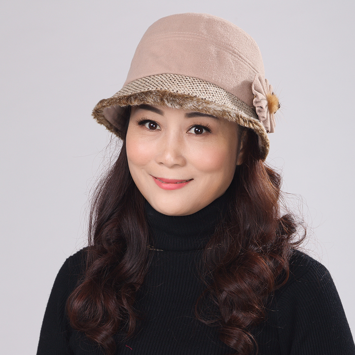 Winter hat female autumn and winter hat in the elderly female models fashion wool hat korean version of the middle-aged ladies winter hat bucket hats