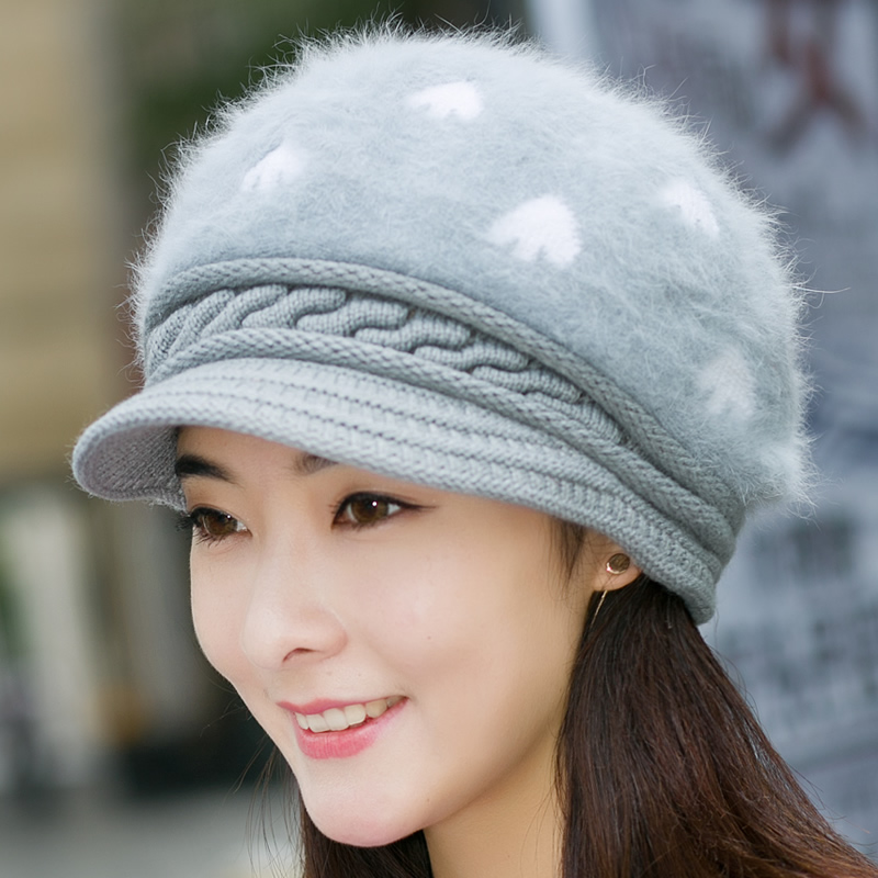 Winter hat female winter wool hat knitted hat korean version of the thick warm leisure wild rabbit fur hat hat hat cold