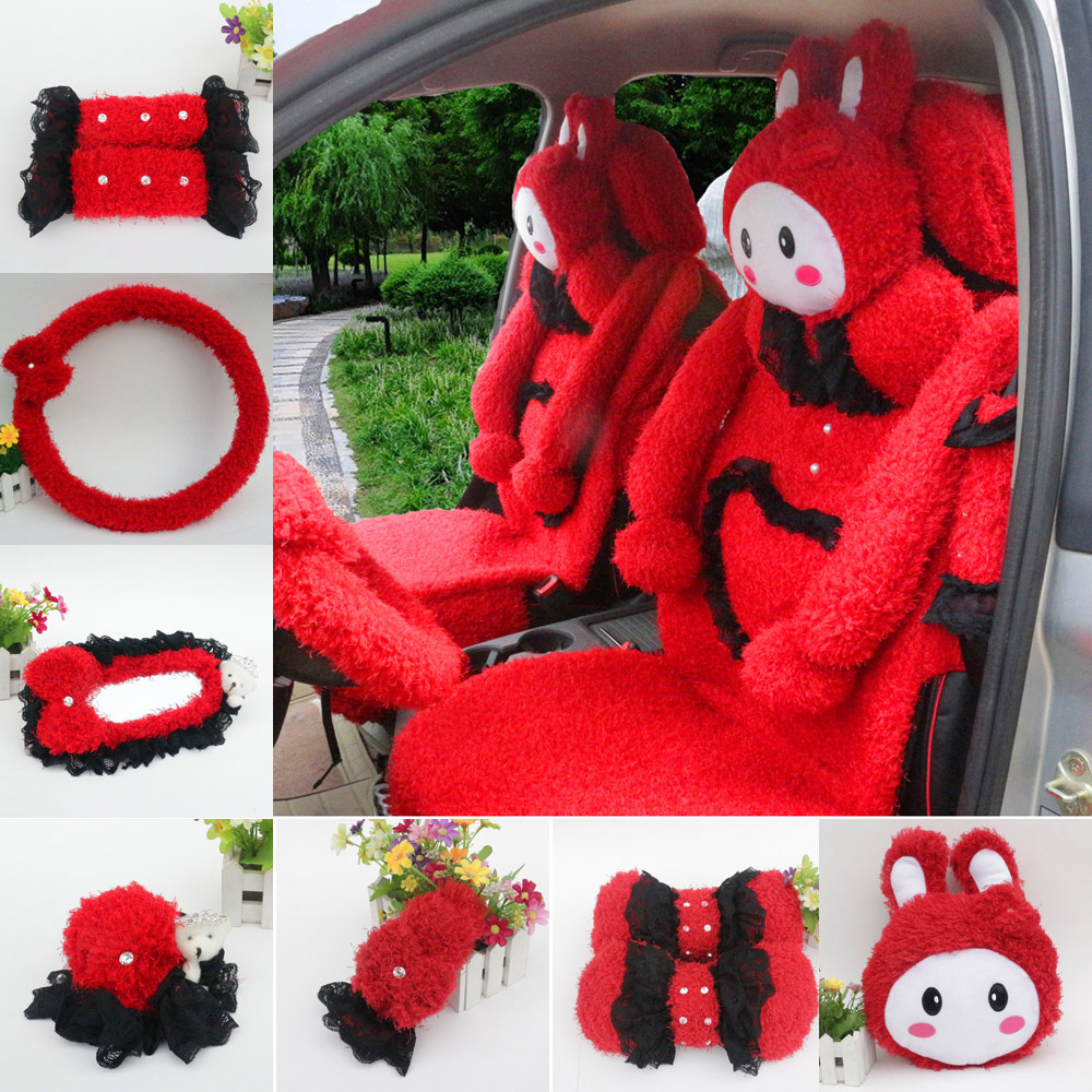 Winter love rabbit plush cute cartoon car accessories kit rearview mirror sets of gears sets handbrake coffee red gray