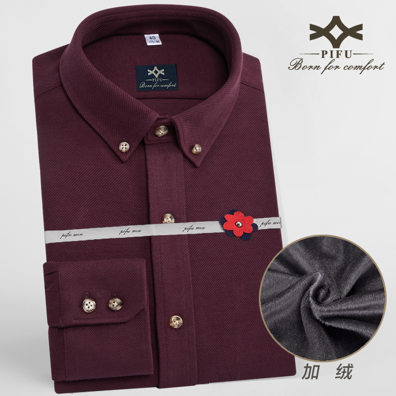Winter middle-aged men long sleeve shirt plus velvet korean slim solid iron business shirt red warm stretch