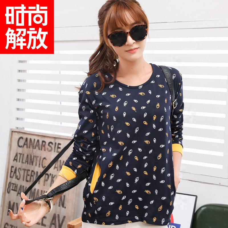 Winter new korean version of the cartoon cute fashion liberation small floral long sleeve t-shirt female students bottoming shirt blouse