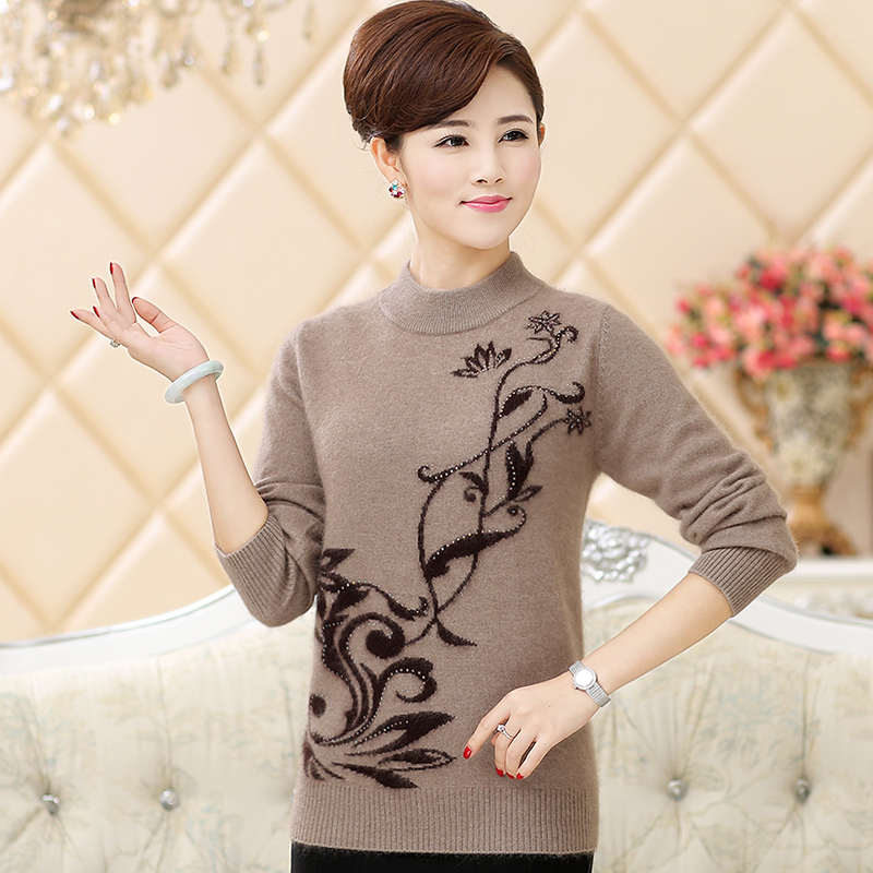 58af4dad8e Get Quotations · Winter new middle-aged women mother dress mink sweaters  women s sweaters hit the bottom shirt
