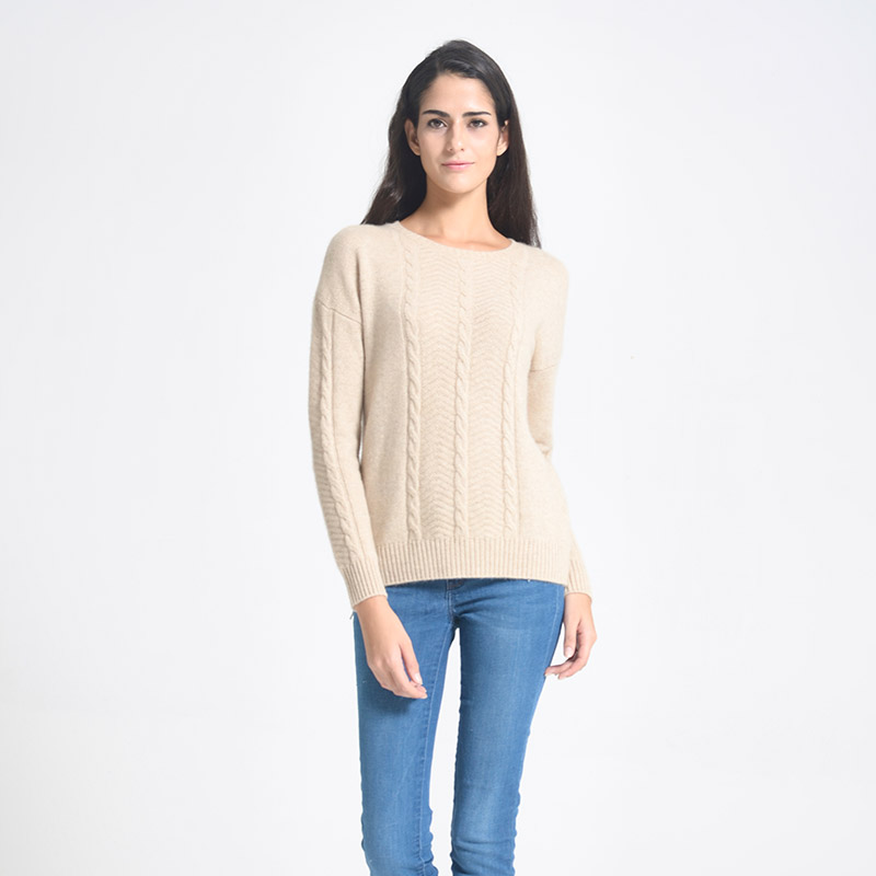Winter new women's cashmere sweaters women's round neck twisted flower pullover end zhuang atmospheric pure cashmere pullover sweater female