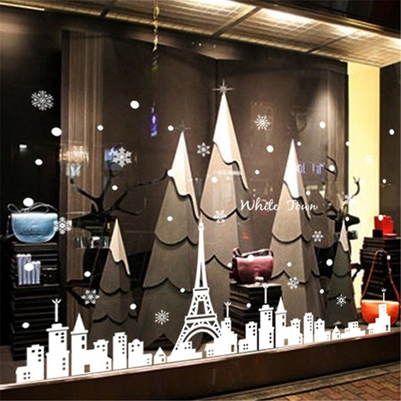 Winter paris street shop shop windows removable wall stickers bedroom living room entrance hallway minimalist european style