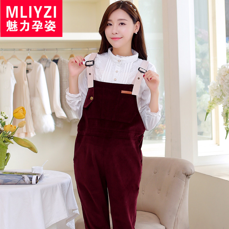 Winter plus thick velvet trousers pants big yards pregnant maternity overalls maternity pants maternity fall and winter clothes prop belly pants piece pants