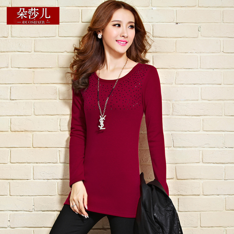 Winter women korean version of the new long section package hip long sleeve round neck t-shirt slim bottoming shirt big yards plus thick velvet