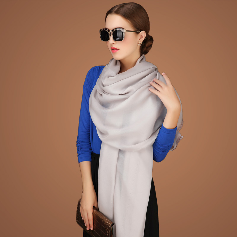 Winter wool scarf silk scarves solid color in autumn wild winter cashmere draped shoulder long section of dual female spring and autumn