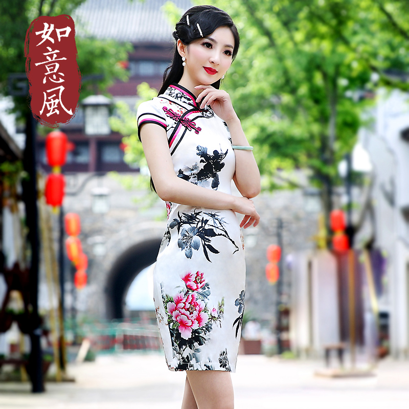 Wishful wind 2016 new mulberry silk fashion improved cheongsam dress short paragraph slim retro cheongsam dress 6250