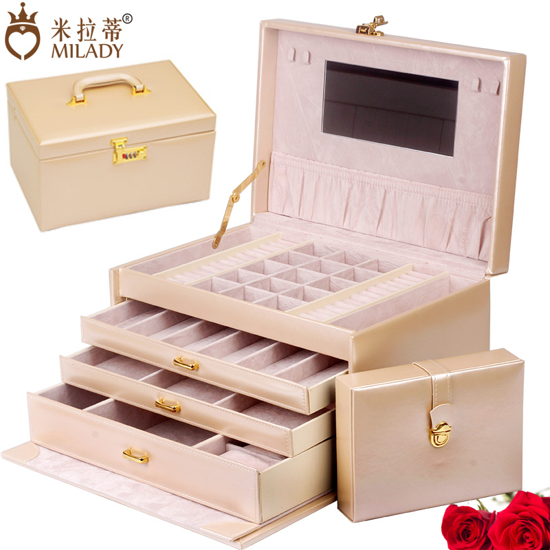 With lock korea european princess jewelry box large capacity hand jewelry box wooden jewelry box wholesale