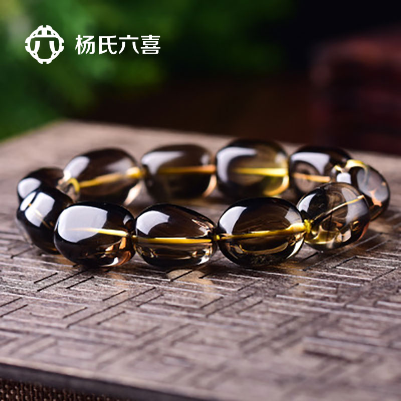 With the shape of natural tea crystal vasopermeability young six hi fashion smoky quartz citrine bracelets lap hand string bracelet male and female models