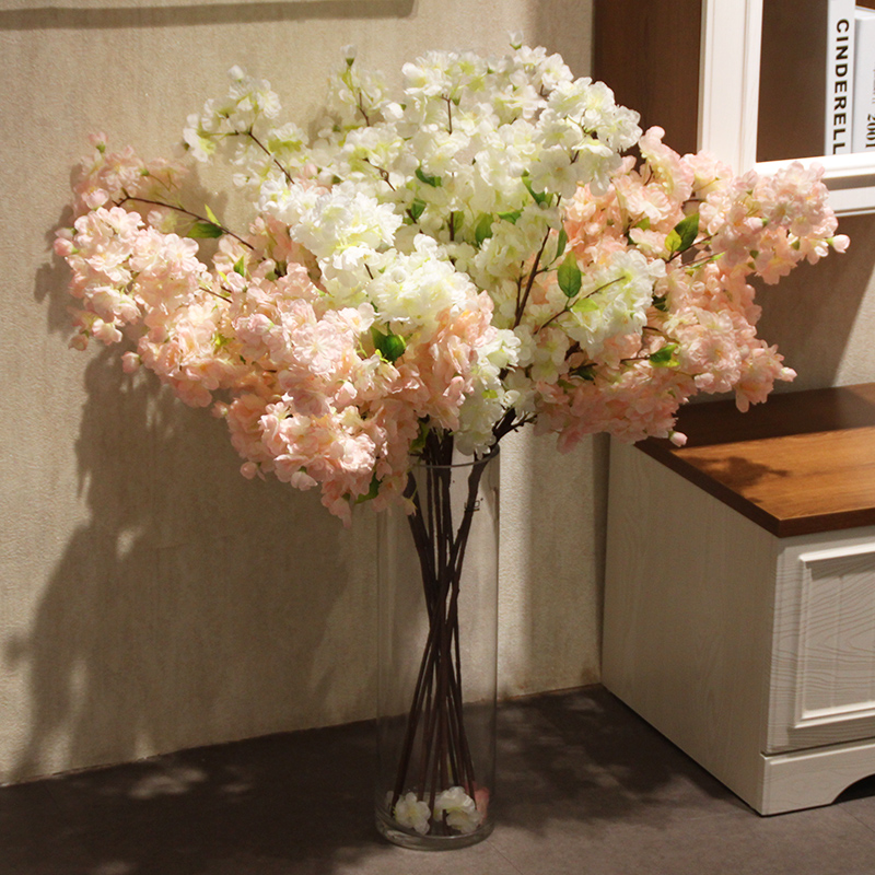 Wo + 4 fork japanese big cherry artificial flowers fake flowers to decorate the living room home decoration wedding flowers floral flower bottle