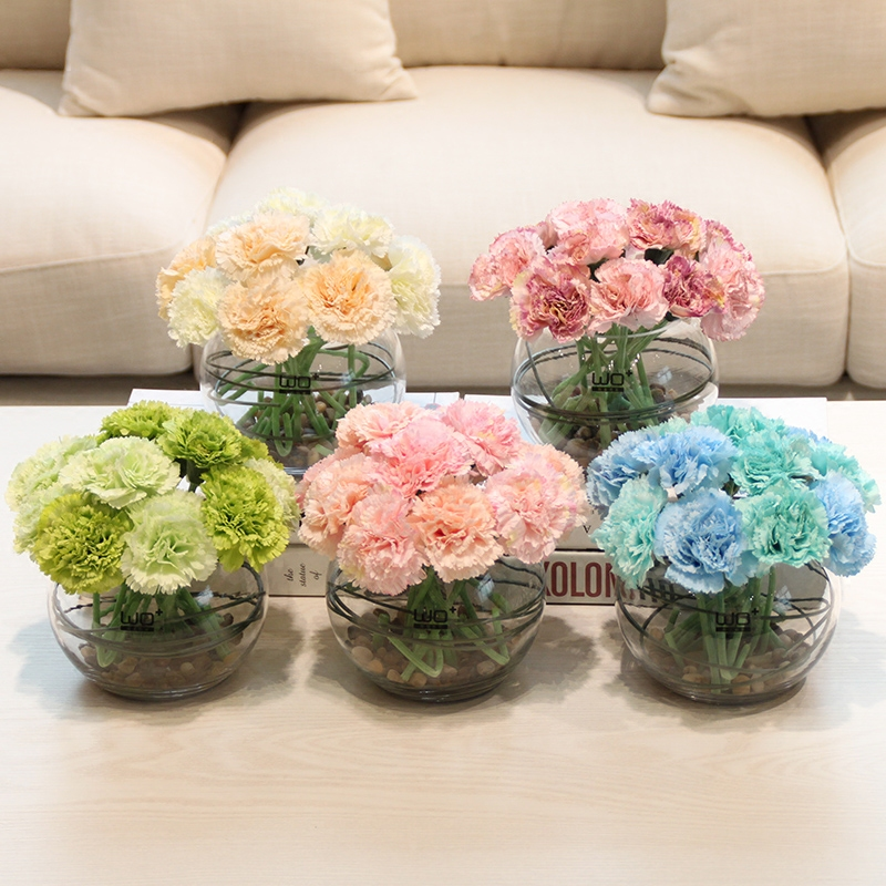 Wo + artificial flowers artificial flowers carnations ceramic glass vase floral suit silk flower floral home decor