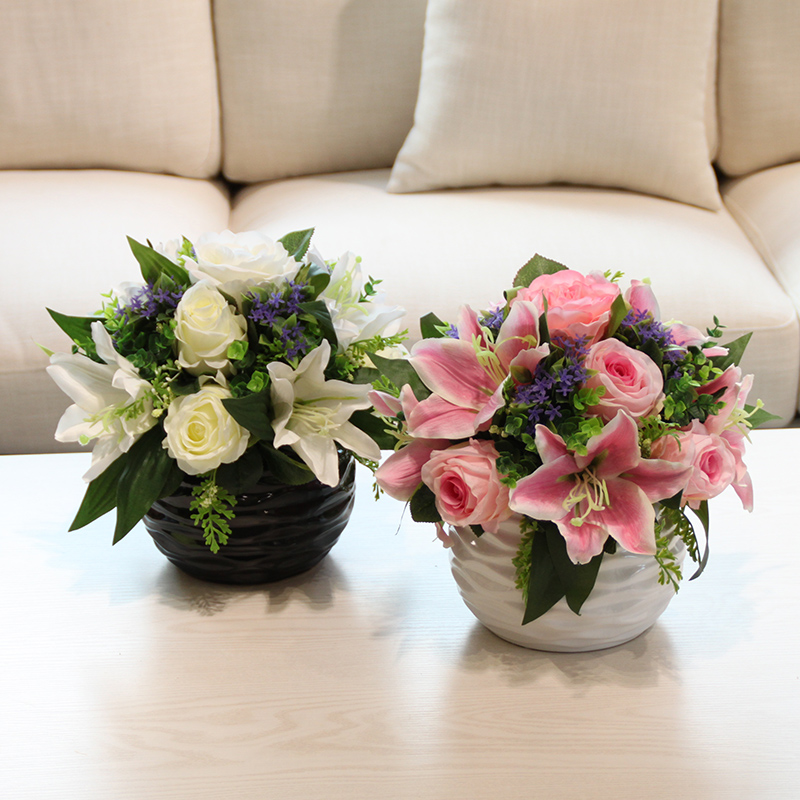 Wo + artificial flowers artificial flowers lily flowers roses suit home decoration flower wedding flower wedding floral living room table