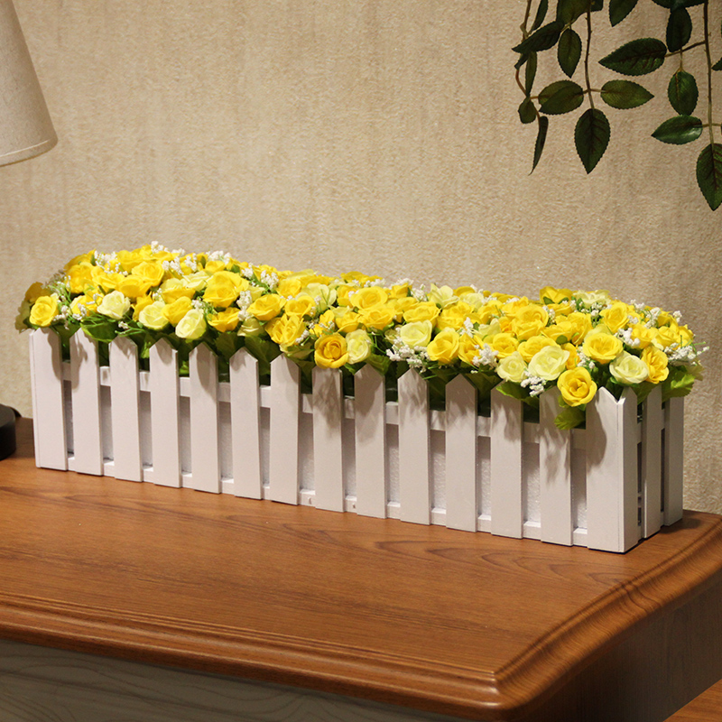 Wo + artificial flowers roses with rustic wooden fence simulation suite living room decorative flower flower arrangement artificial flowers