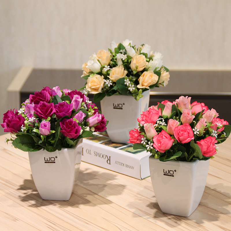 Wo + simulation tea rose bud potted artificial flowers floral suit home dining table european decorative flower garden