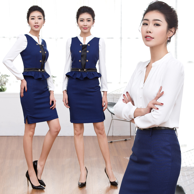 Women wear skirt suits ol spring and autumn sw 2016 beautician wear overalls stewardess uniforms career suits are