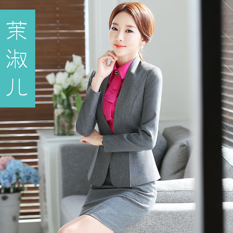 Women wear suits ol interview ladies dress suit suit female spring long sleeve work wear overalls skirt