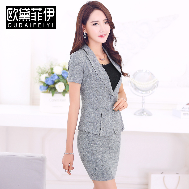 52c490af5aa Get Quotations · Women wear suits ol slim short sleeve skirt suit ladies  dress overalls tooling business uniforms overalls