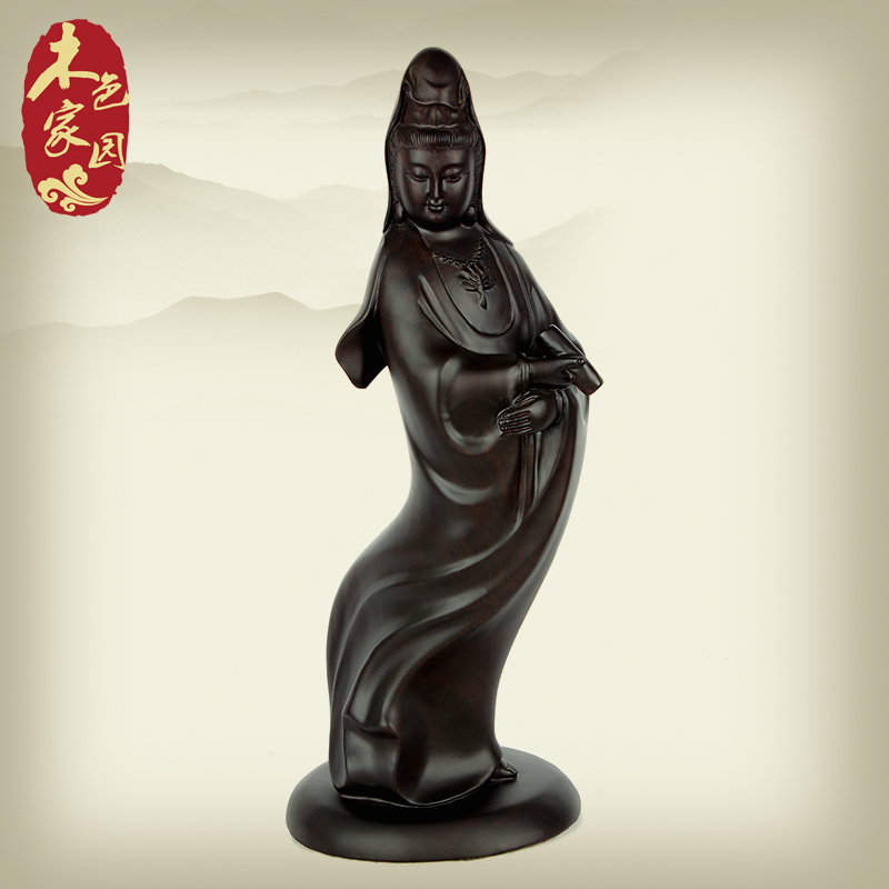 Wood color home holding books guanyin ebony wood carving wood carving wood carving of guanyin bodhisattva ornaments crafts jewelry at home