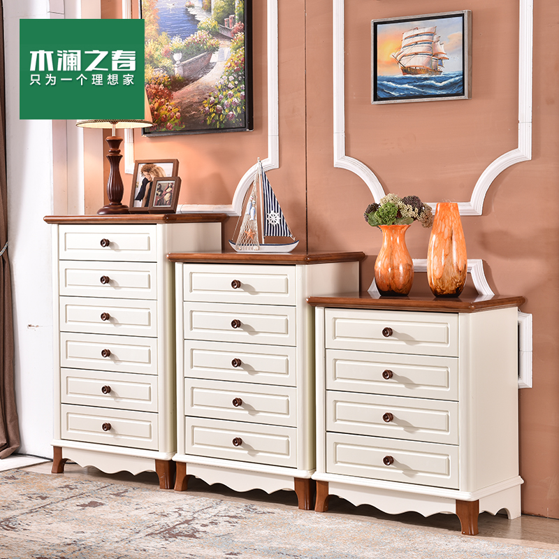 Wood lan spring furniture mediterranean four/five/six drawers entrance cabinet lockers chest of drawers american country pastoral