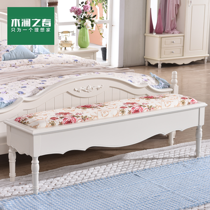 Wood lan spring korean garden wood benches his shoes stool ottoman stool bed end stool white fashion spot
