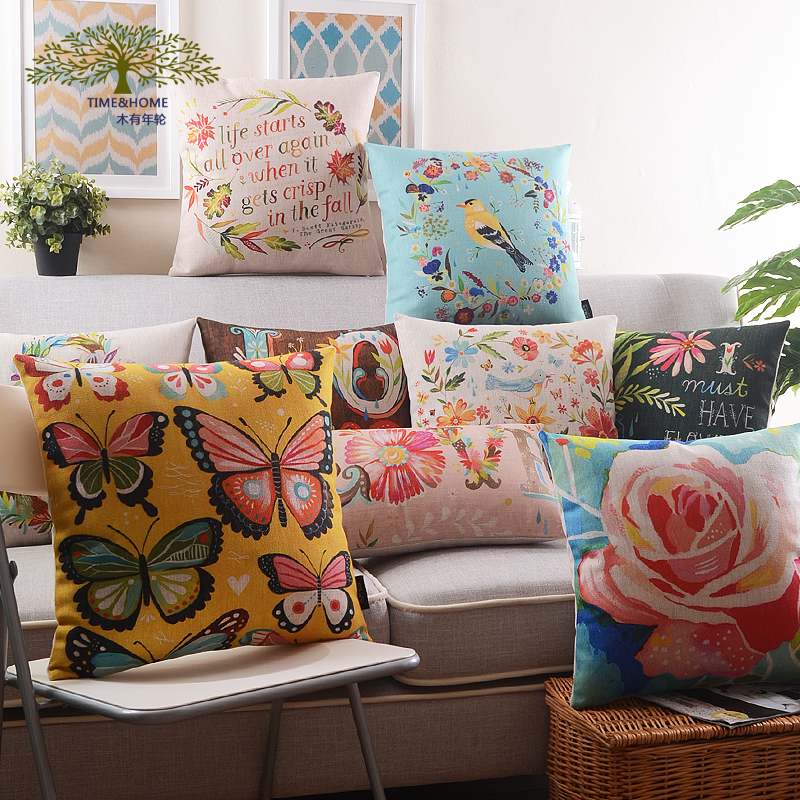 Wood rings painted birds and flowers contadino american thick cotton pillow cushion sofa cushions office gifts