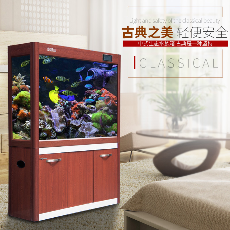 Wood screen porch off the cylinder aquarium fish tank glass fish tank ecological goldfish bowl large and medium-sized ultrawhite