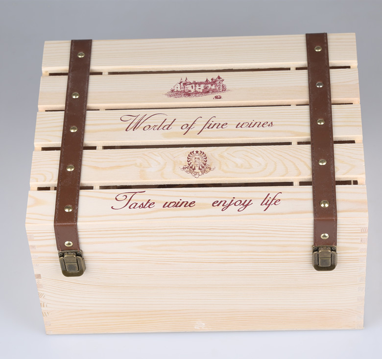 Wood wine box packing box 6 mounted 6 only wine box customized gift box upscale wine sent Gift