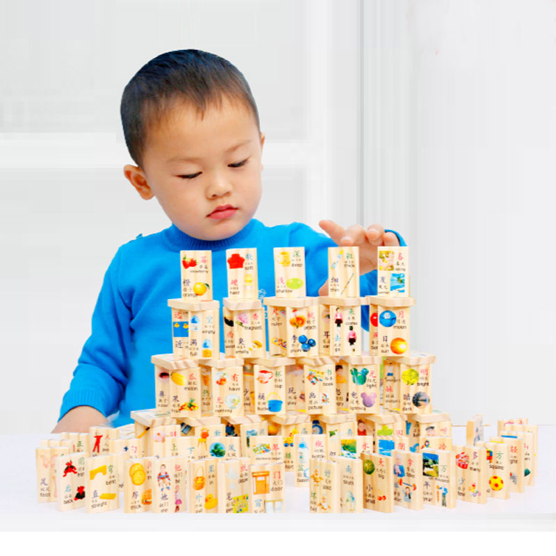 Wooden balls domino toy building blocks of literacy dominoes children's educational force baby learning pinyin early childhood cognitive cards