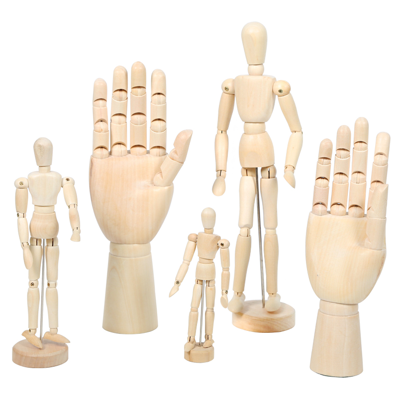 Wooden hand model wooden dolls joint puppet animation clips painting gifts furnishings ornaments crafts wedding work