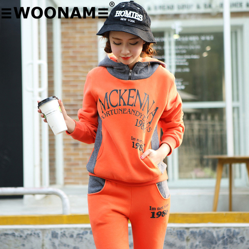 Woonam 2016 autumn and winter long sleeve casual sweater letters printed sweater suit autumn and winter fashion piece 93