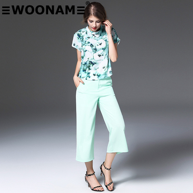 Woonam europe station 2016 summer new european and american female fashion printed t-shirt pants suit 80502