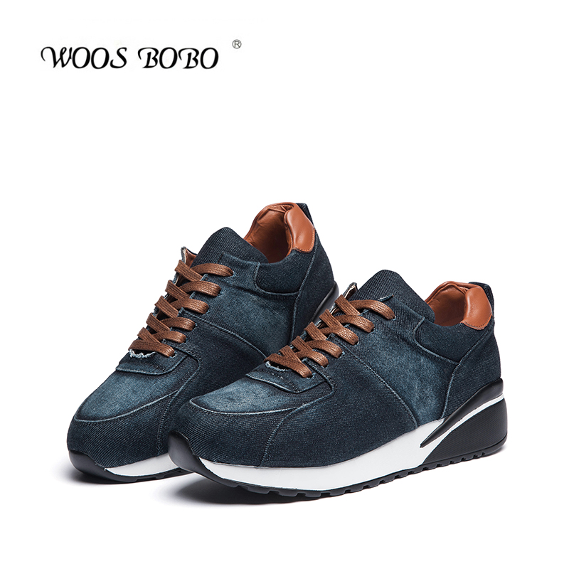 Woosbobo 2016 spring new denim canvas shoes women shoes round bottomed shoes casual shoes with flat shoes korean shoes
