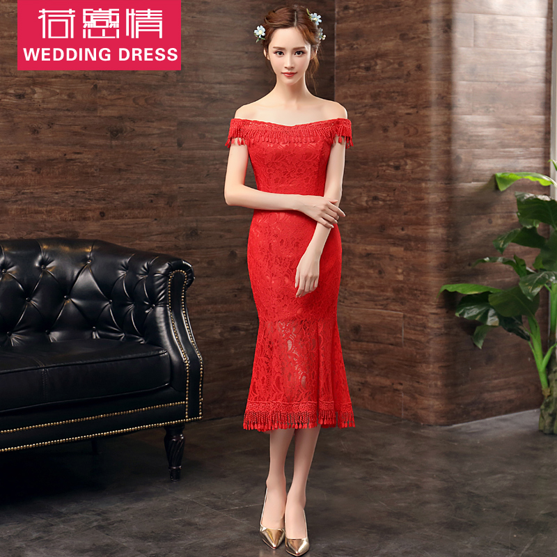 Word shoulder fishtail package hip was thin red dress short paragraph bride wedding toast wedding dress evening dress evening dress