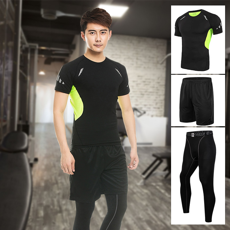 Workout clothes men short sleeve shorts suit summer and quick movement running tights fitness body gym training suit three sets