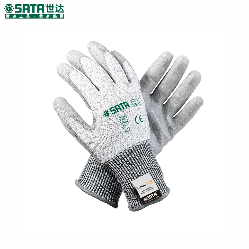 "World of labor protective gloves labor gloves safety gloves 9 ""nitrile palm coated gloves cut resistant sf0712"
