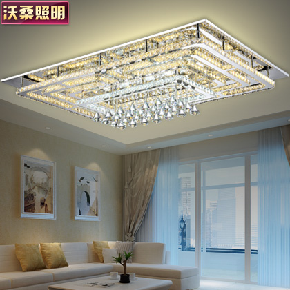 Wosang led crystal light ceiling rectangular living room dining room modern minimalist creative atmosphere bedroom lamp