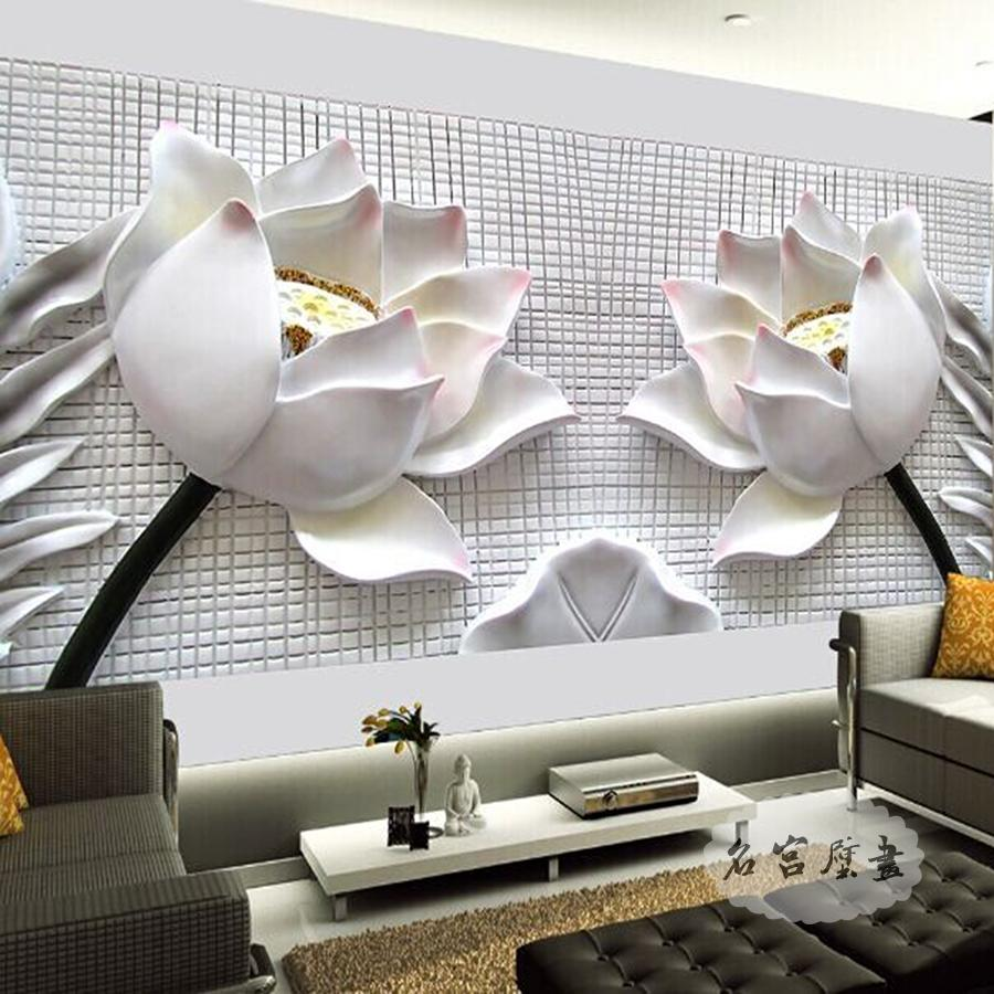 Wovens euclidian mural fresco living room tv background wallpaper 3d stereoscopic video wall reliefs modern chinese lotus
