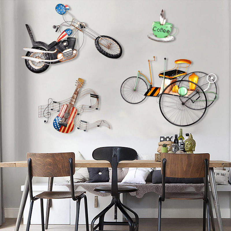 Wrought iron wall hangings wall hangings creative guitar crafts home decorations wall mural wall hanging bar
