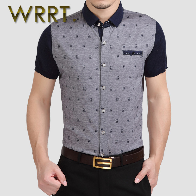 WRRT2016 stamp summer new middle-aged men short sleeve shirt business casual korean version of slim shirt 9489
