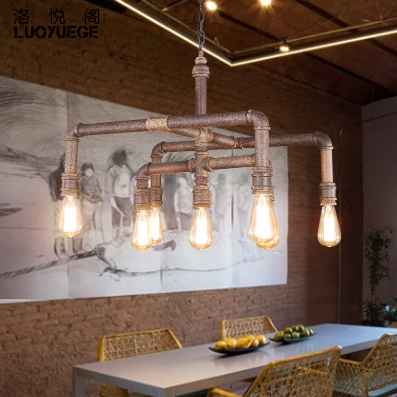 Wyatt pavilion los loft retro bar cafe bar chandelier lighting restaurant bar creative personality industrial control chandelier pipes