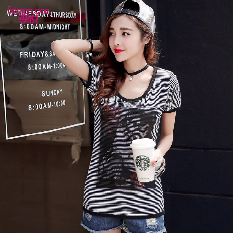 Wyatt season short sleeve t-shirt female summer 2016 new student character letters printed flower round neck slim striped cotton summer