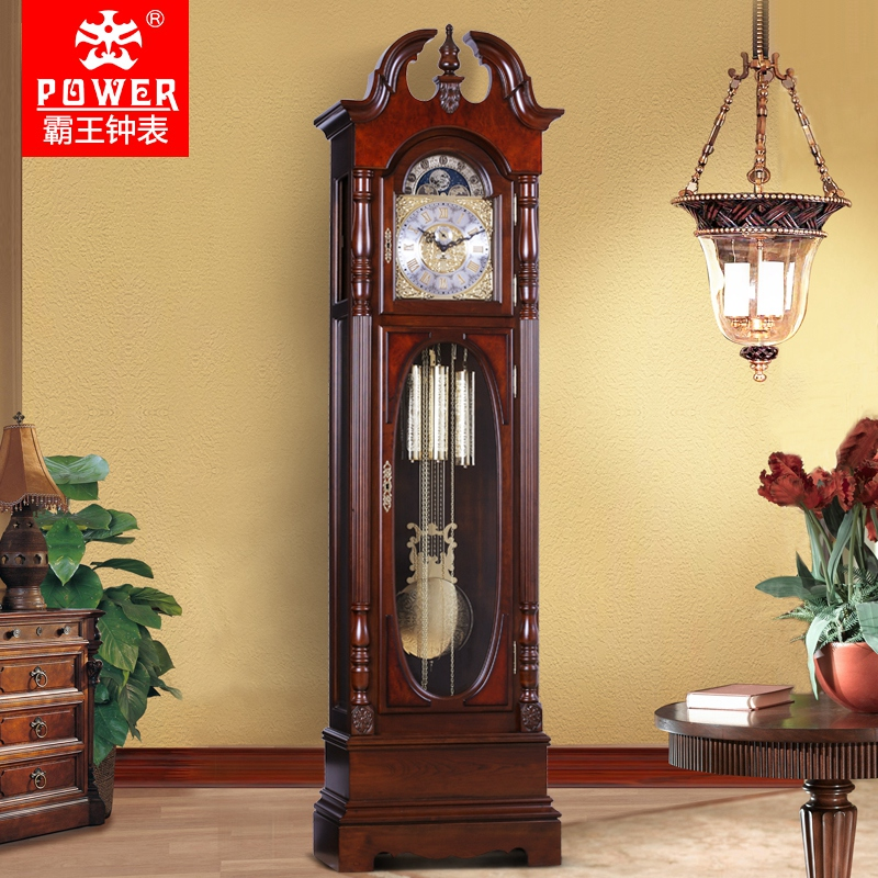 Xanthoxylum mahogany living room floor clock european retro wood clock bell stand creative german hermle mechanical movement