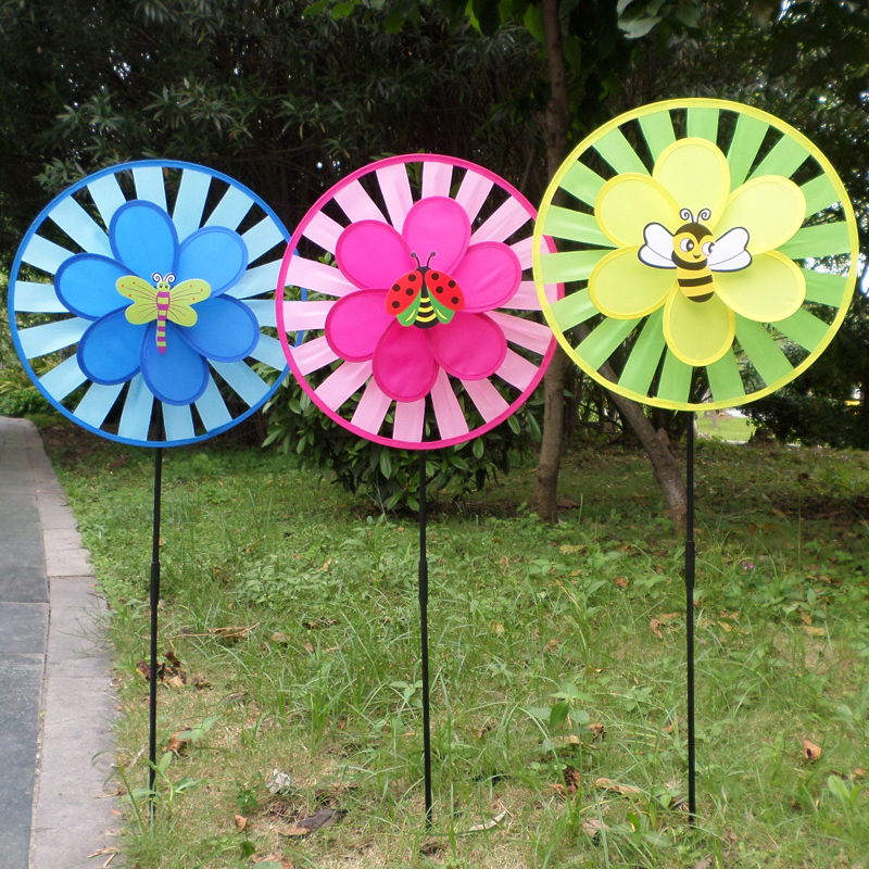 Xi bao insect animal solid double windmill windmill nursery outdoor park estate turnplate decorated children's toys