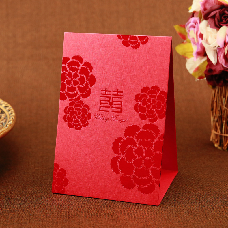 Xi love the finished seats card/personalized table cards/wedding supplies/decca/hot red and gold flowers table cards seat card