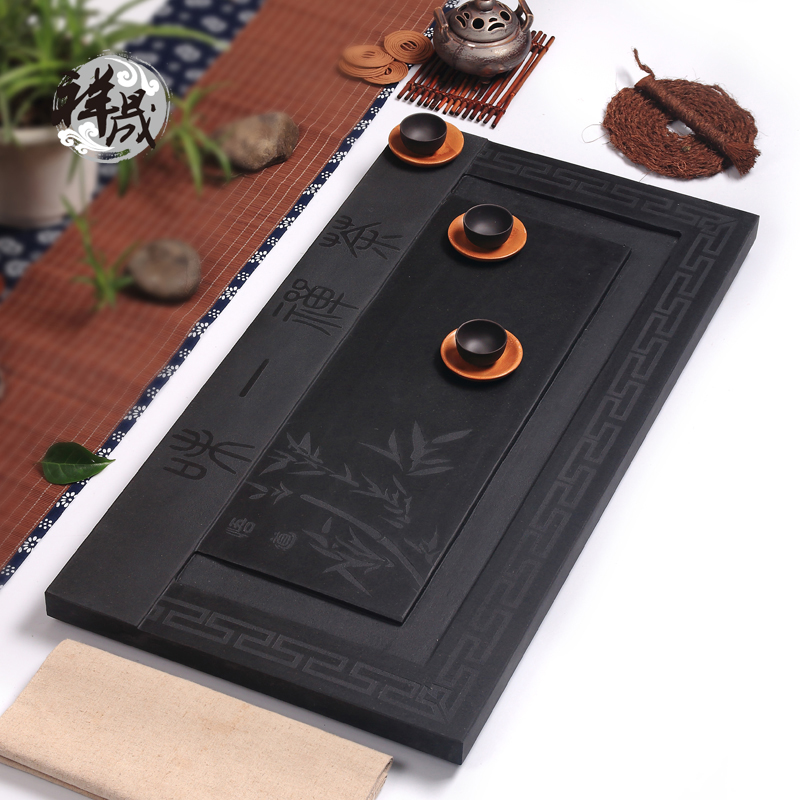 Xiang sheng genuine natural inblock ugyen black stone tea sets tea tray large sea drainage kung fu tea set
